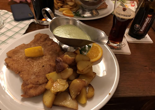 Schnitzel with green sauce and potatoes (very German)