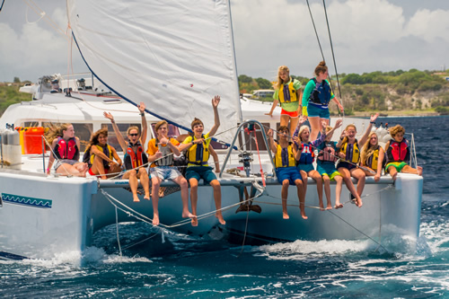 Teens sailing in the Caribbean