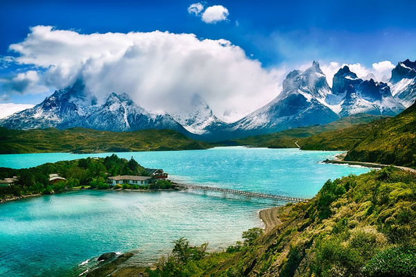 Chile mountains, lake and landscape