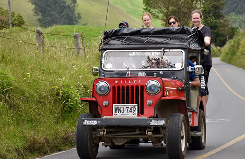 Travel by Willy jeep to the Cocora Valley