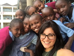 Volunteer with children in Africa
