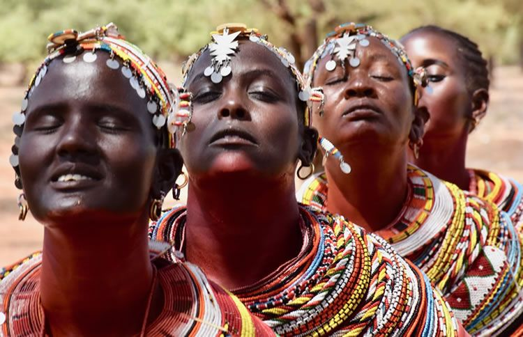 Dancing Rendille women of Kenya in a trance