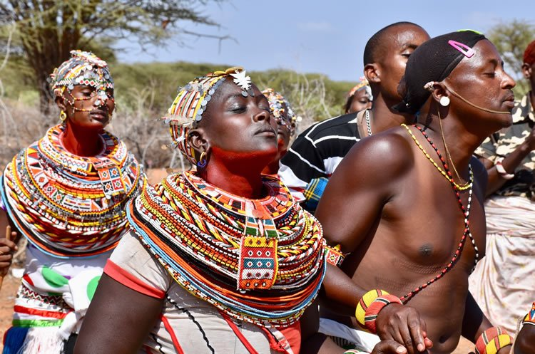 Samburu men and women dancing