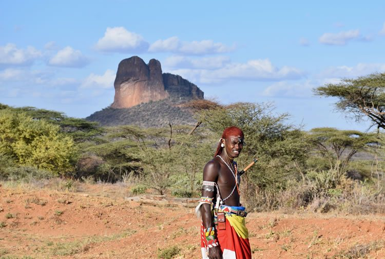 Samburu warrior at 'Sabache Camp,' at the foot of Mount Ololokwe in northern Kenya.