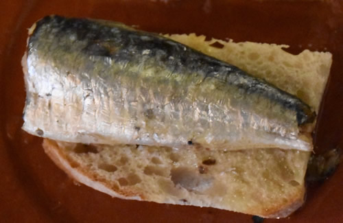 A Portuguese sardine on bread