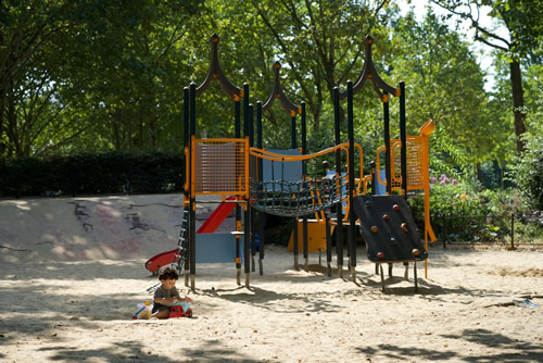 Playing at the Georges Brassens neighborhood park.