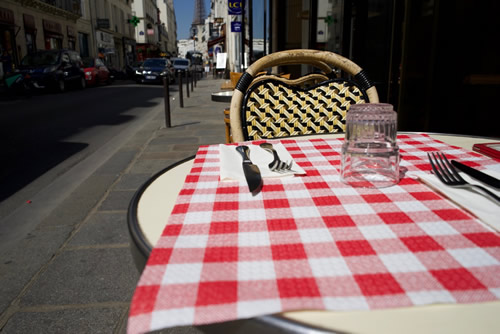 Sidewalk seating at of the student-oriented budget restaurants in Paris