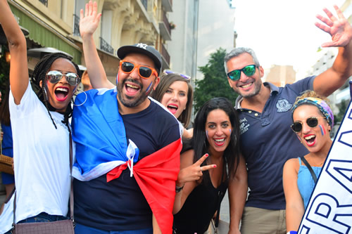 Parisians celebrating after the World Cup in 2018