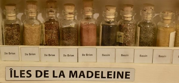 Different types of sand from the Magdalen Islands