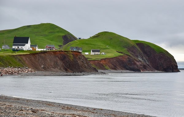 Magdalen islands houses and cliffs
