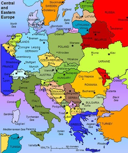 Map of Central and Eastern Europe