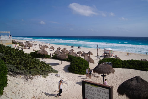An escape from the beach resorts at Playa Delfines in Cancun