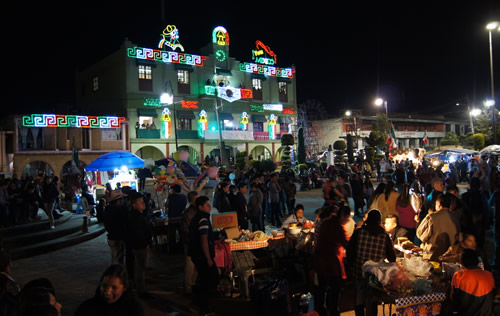 Town fair at night in central Mexico