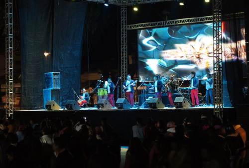 A cumbia band playing at a town fair in Mexico