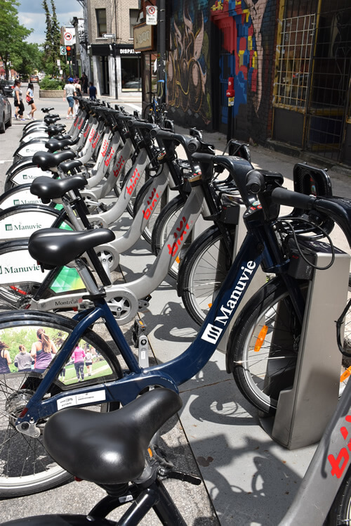 BIXI bicycles can be rented throughout the city