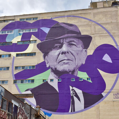 Mural of Leonard Cohen in Montreal