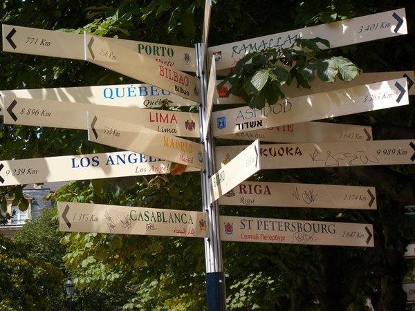 Budget travel signposts