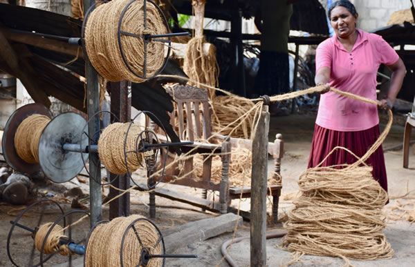 Production of rope from coconut shell fiber