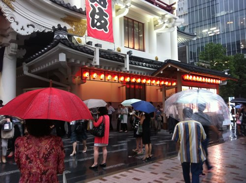 Tokyo Kabukiza theatre with people waiting