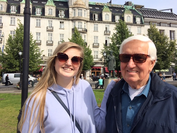 John Dwyer with his granddaugher, Sutton, in Oslo during their trip together in Europe