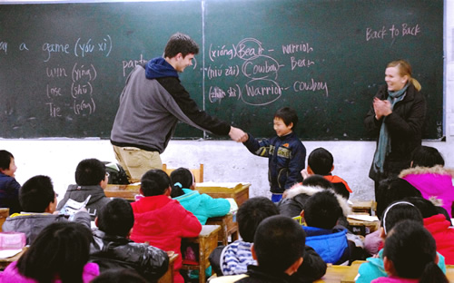 Teaching English in China to students