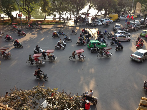 Traffic of all kinds in Hanoi, Vietnam