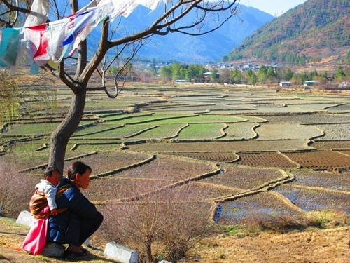 Mother gazing over the farmlands in Bhutan