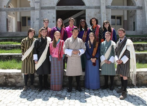 Students with 5th king of Bhutan
