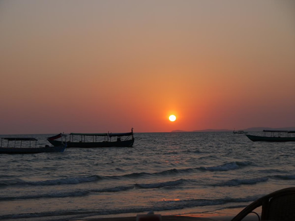 Fishing boats at sunset in Cambodia