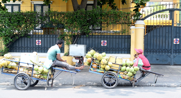 Coconut vendors on the streets of Phnom Penh