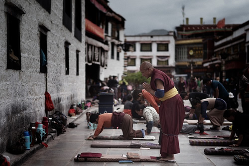 Monks praying in Lhasa, Tibet