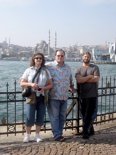 Two tourist and expat author on banks of the Golden Horn