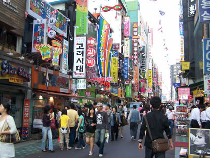 Myeong Dong street downtown Seoul