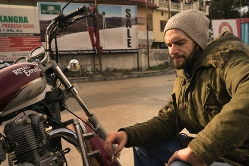 Author on motocyle trip in Himachal Pradesh, India