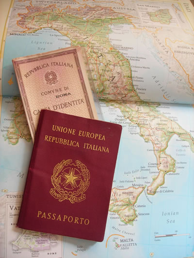 Id Card Passport over map of Italy