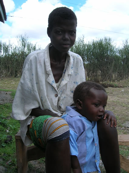 An HIV positive woman with her baby