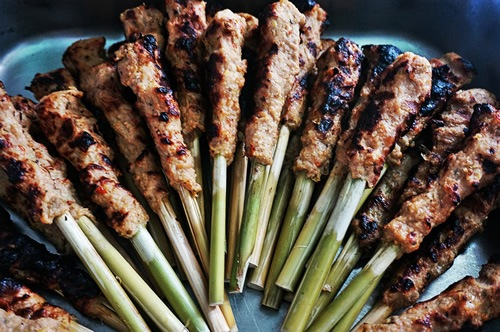 Satay on bamboo skewers