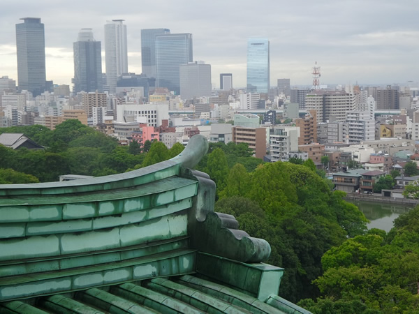 Skyline of Nagoya, Japan as seen from a castle