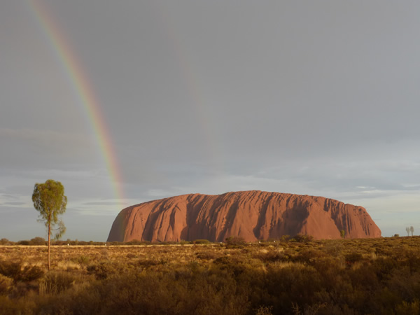 Settle in a new country such as Australia with a rainbow