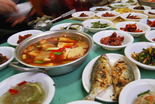 A typical food spread, including kimchi