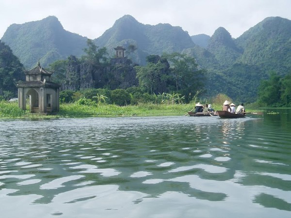 Boat ride to Perfume Pagoda in Vietnam