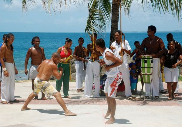 Capoeira demonstration at the beach
