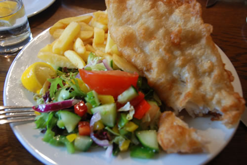 Fish and chips at Dores Inn, Loch Ness, Scotland.