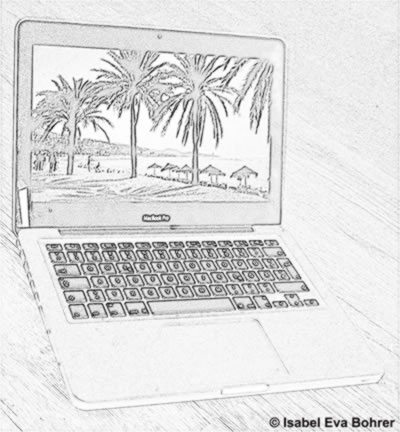 Laptop with beach image