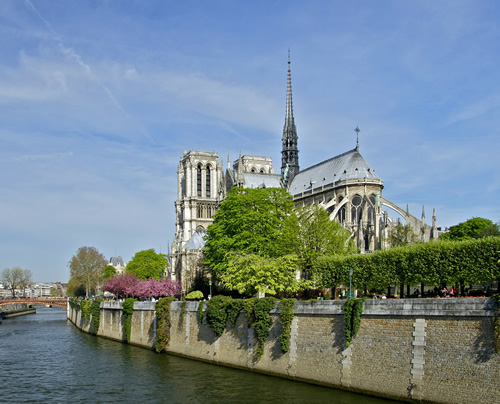 A view of Notre Dame in Paris.