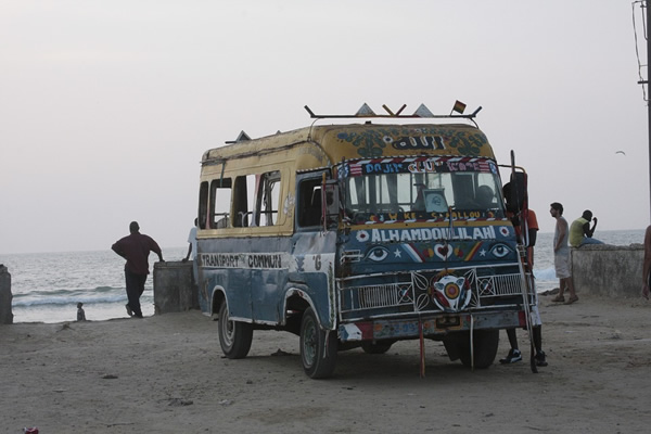 Bus in Senegal by the sea