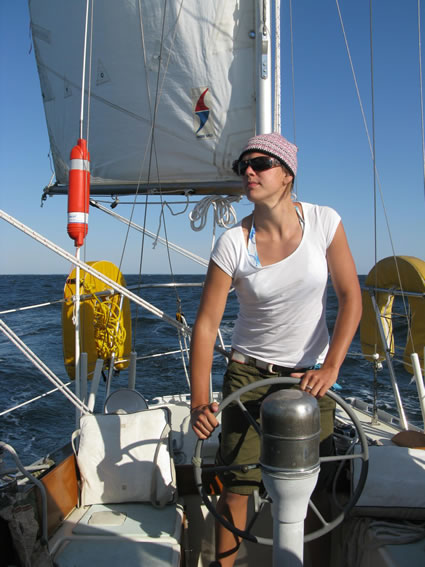 Mia Karlsson at the helm of the yawl