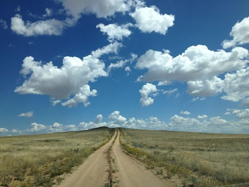American road trip on a dirt road