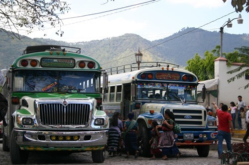 Colorful public buses in Antigua