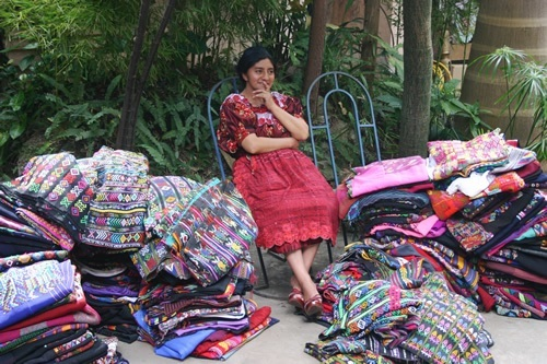 A local artisan selling her textiles